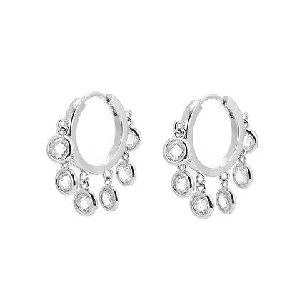 Silver Plated Crystal Hoop Earrings