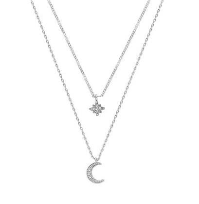 Silver Plated Star Moon Layered Necklace