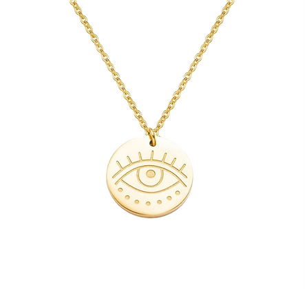 Gold Plated Eye Coin Necklace