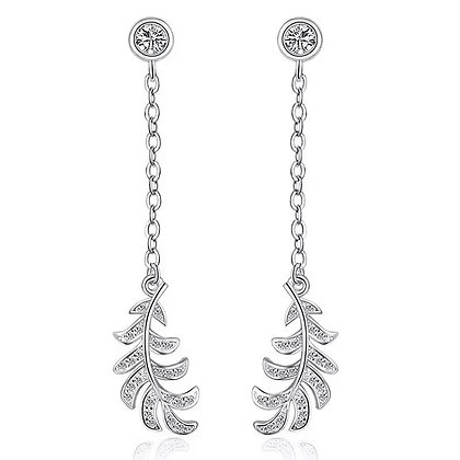 Sterling Silver Feather Drop Earrings