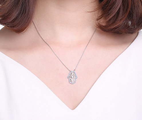 Silver Plated Crystal Hamsa Hand  Necklace
