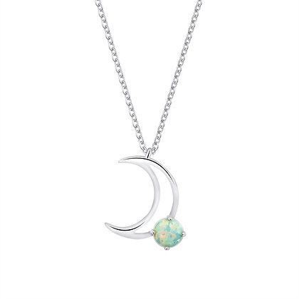 Silver Plated Fire Opal Moon Necklace