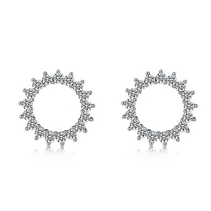 Silver Plated Maya Circle Stud Earrings