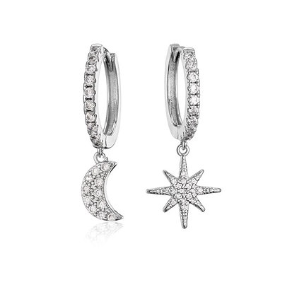 Silver Plated Moon Star Hoop Earrings