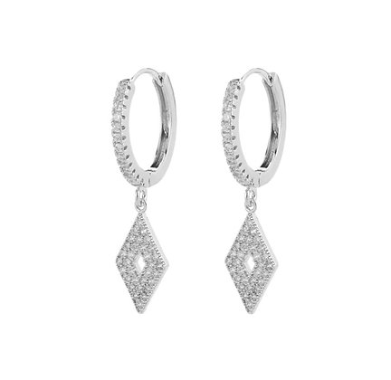 Silver Plated Rhombus Hoop Earrings