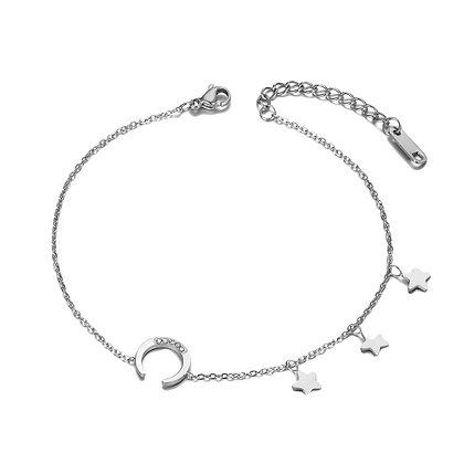 Silver Plated Moon Star Bracelet