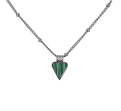Silver Plated Triangle Malachite Necklace