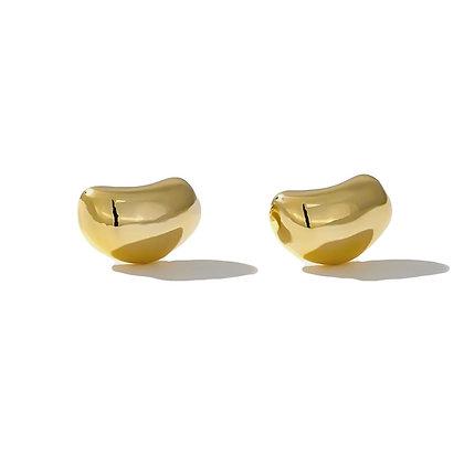 Gold Plated Bean Earrings