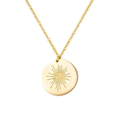 Gold Plated Starburst Coin Necklace