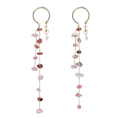 Gold Plated Natural Crystal Drop Earrings