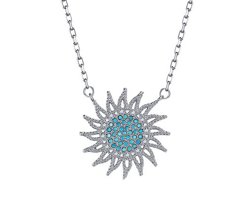 Silver Plated Sunflower Necklace