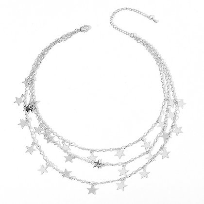 Silver Plated Starry Chains Necklace