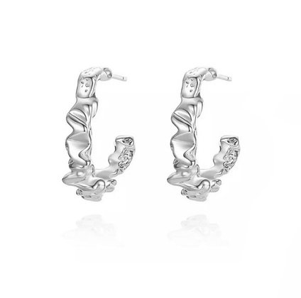 Silver Plated Smashed Hoop Earrings