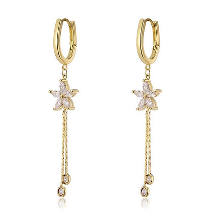 Gold Plated Flower Hoop Drop Earrings