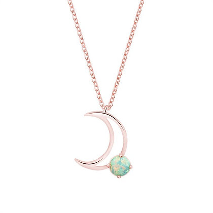 Rose Gold Plated Fire Opal Moon Necklace