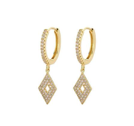 Gold Plated Rhombus Hoop Earrings