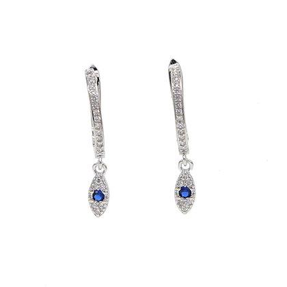 Sterling Silver Blue Eye Hoop Earrings