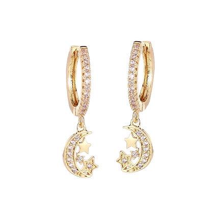 Gold Plated Moon Hoop Earrings