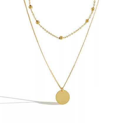 Gold Plated Beaded Coin Necklace