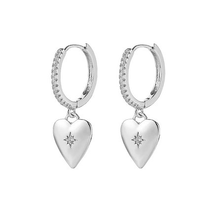 Silver Plated Heart-Shaped Hoop Earrings