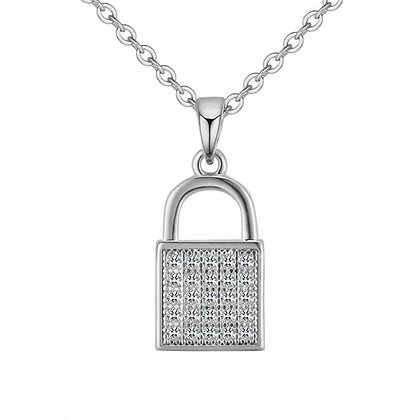 Silver Plated Lock Necklace