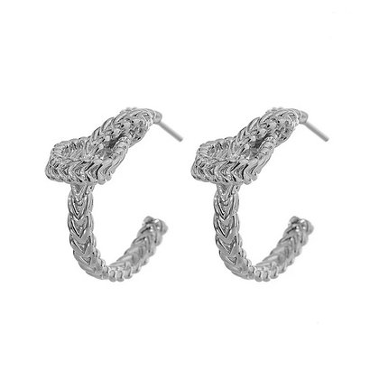 Silver Plated Knot Hoop Earrings