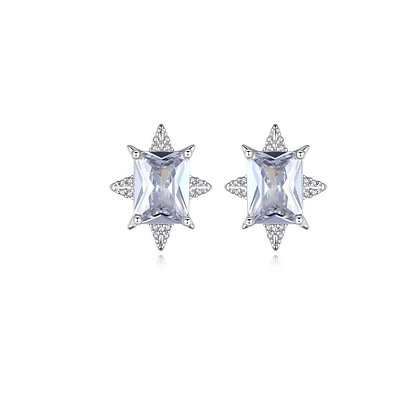 Silver Plated Saint Star Stud Earrings