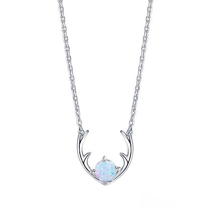Silver Plated Opal Reindeer Necklace
