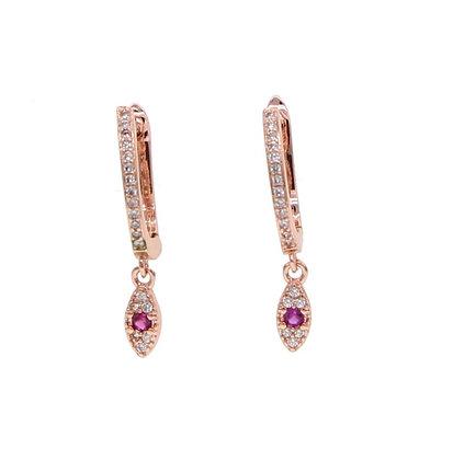 Sterling Silver Pink Eye Hoop Earrings