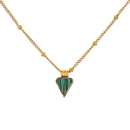 Gold Plated Triangle Malachite Necklace