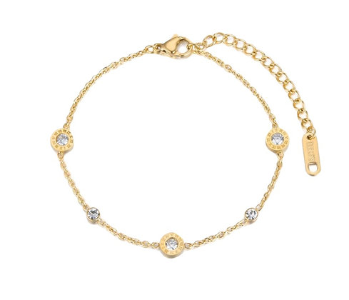 Gold Plated Roman Numbers Bracelet