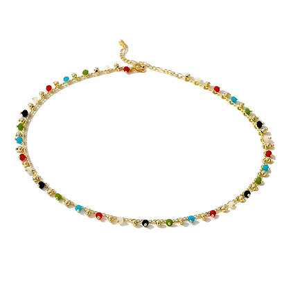 Gold Plated Beaded Rainbow Necklace