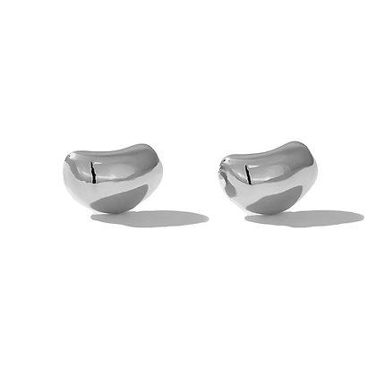 Silver Bean Earrings