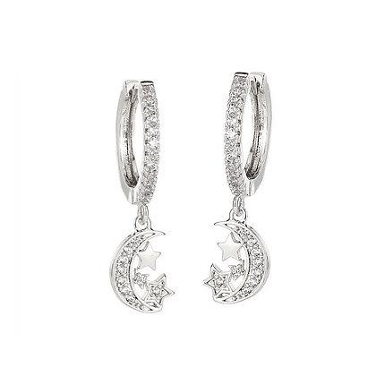 Silver Plated Moon Hoop Earrings