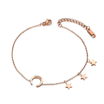 Rose Gold Plated Moon Star Bracelet