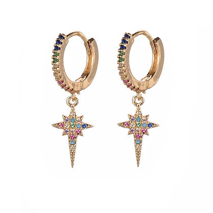 Gold Plated Colourful Star Hoop Earrings