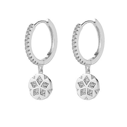 Silver Plated Clover Hoop Earrings