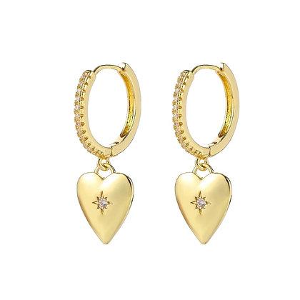 Gold Plated Heart-Shaped Hoop Earrings