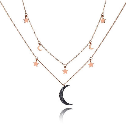 Rose Gold Plated Black Moon Layered Necklace