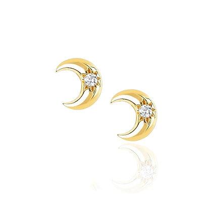Sterling Silver Moon Stud Earrings