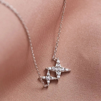 Silver Plated Double Star Necklace