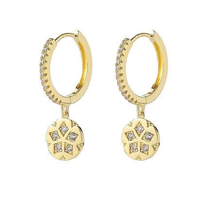Gold Plated Clover Hoop Earrings