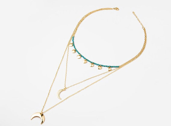 Gold Plated Beaded Horn Necklace
