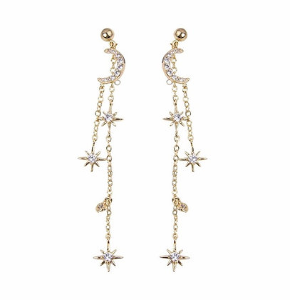 Gold Plated Moon Star Drop Earrings