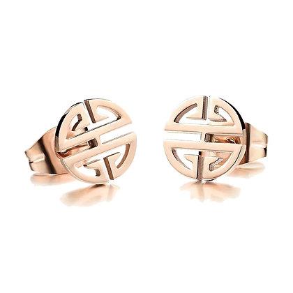 Rose Gold Plated Geometry Earrings