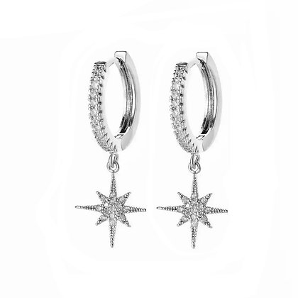 Silver Plated Star Hoop Earrings