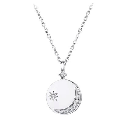 Moon Silver Plated Coin Necklace
