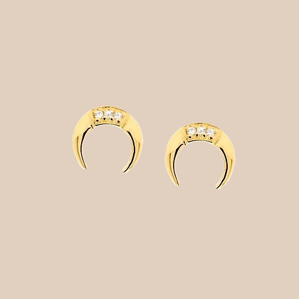 Gold Plated Tiny Horn Stud Earrings