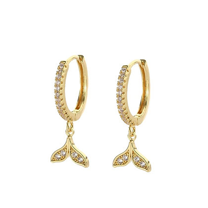 Gold Plated Whale Tail Hoop Earrings