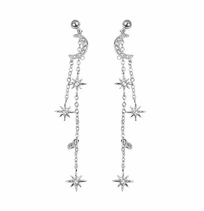 Silver Plated Moon Star Drop Earrings